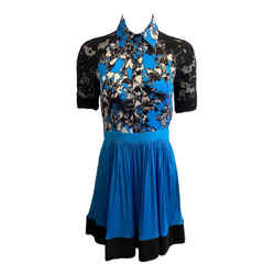 Emanuel Ungaro Blue / Black Lace Button Up Cocktail Dress