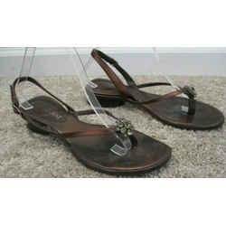 Saint Laurent Bronze Metallic Leather Low Heel Sandals With Crystals - Size 9