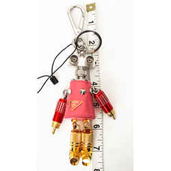 New 460 Prada Pink Robot Giulietta Saffino Leather Metal Keyring Trick Bag Charm
