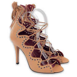 NEW $1155 ISABEL MARANT Lelie Ghillies Leather Lace-Up Sandals - Taupe - Size 37