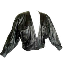1 Of 8 Images View Fabulous Gianni Versace Black Dotted Lambskin Leather Jacket 1980s Sz 8/10