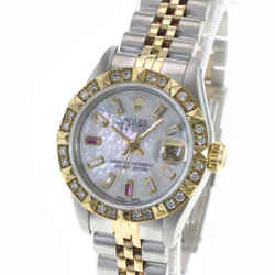 Rolex Womens Watch Datejust 26mm White Diamond Ruby Dial Diamond Bezel