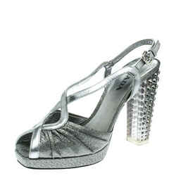 Prada Silver Fabric and Leather Crystal Embellished Slingback Sandals Size 36