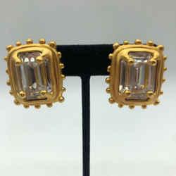 Karl Lagerfeld Gold Rhinestone Earrings