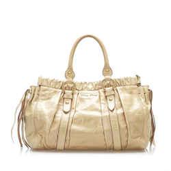 Brown Miu Miu Vitello Shine Satchel Bag
