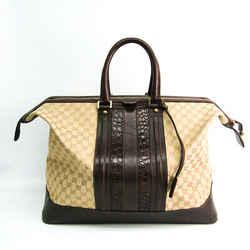 Gucci GG Canvas 124057 Unisex Leather,Canvas Boston Bag Beige,Dark Brow BF518030