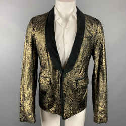 ROBERTO CAVALLI Size 42 Gold & Black Laser Pony Jacquard Leather Shawl Collar Sport Coat