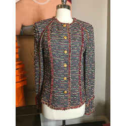 St. John Collection Size 8 Black & Red Frint Jacket Vintage - 845-23-121719