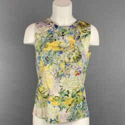 ERDEM Size 4 Green & Yellow Floral Cotton Sleeveless Blouse