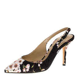 Dolce & Gabbana Multicolor Floral Print Brocade Slingback Pointed Toe Sandals