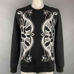 JUST CAVALLI Size XL Black & White Print Cotton Crew-Neck Sweatshirt