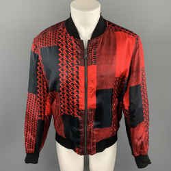 ROBERTO CAVALLI Pre-Fall 2018 Size 40 Black & Red Print Viscose Zip Up Jacket