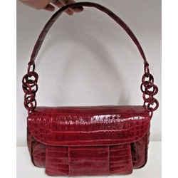 Nancy Gonzalez  Raspberry Alligator Compartmentalized Flap Shoulder Bag - New!