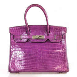 Hermes Birkin 30 Cm Purple Crocodile Porosus Tote Bag