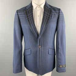Vivienne Westwood Man Size 40 Navy Plaid Wool Blend Notch Lapel Sport Coat