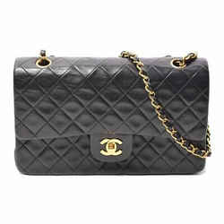 Auth Chanel Lamb Matrasse Coco Mark W Flap Chain Shoulder Leather Bag