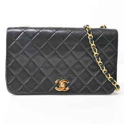 Auth Chanel Lambskin Matelasse Full Flap Turn Lock Chain Shoulder Bag Blac