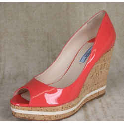 Prada Pink Patent Platform Wedge Heel Espadrille Peep Pumps Size 39.5 Nib $790