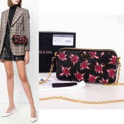 Prada New $1,580 Frankenstein Rose Bolt Print Mini Double Zip Crossbody Bag Nib