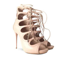 New $1226new $1226 Alexander Mcqueen Cuba Calf Leather Lace Up Sandals - Blush - Size 40