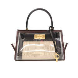 Tory Burch Black Beige Leather Canvas Clear Handbag
