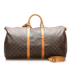 Vintage Authentic Louis Vuitton Brown Monogram Keepall Bandouliere 55 France