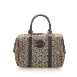 Vintage Authentic Celine Brown Canvas Fabric C Macadam Boston Bag France