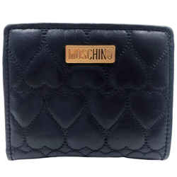 Moschino Midnight Blue Heart Quilted Small Logo Wallet