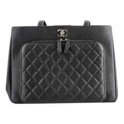 Chanel Shopper Black Leather Tote