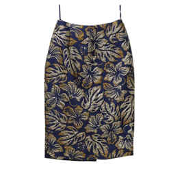 Prada Blue with Gold Floral Polyester Skirt sz 2