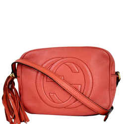 Gucci Soho Disco Pebbled Leather Small Crossbody Bag Coral 308364