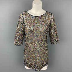 DRIES VAN NOTEN Size 8 Multi-Color Mesh Sequin Polyester Dress Top