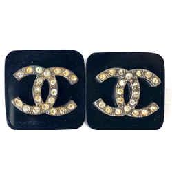 Chanel 95p Black Block Crystal CC Earrings 10c614