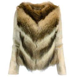 Oscar de la Renta Brown & Beige Raccoon Fur Jacket