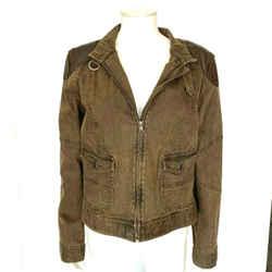 $180 Lrl Lauren Jeans Co Ralph Lauren Brown Denim Jacket Leather Trim Size 16