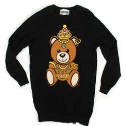 Moschino Couture - Black Sweater With Teddy Bear - Extra Small - Xs