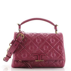 T Timeless Signature Top Handle Bag Quilted Leather Small