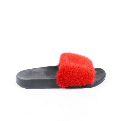 Givenchy Sandals Red Mink Fur Slides SZ 40