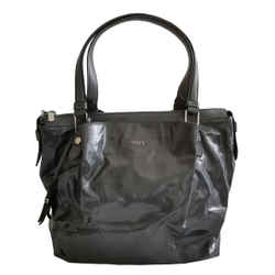Tods Charcoal Leather Trim Nylon Coated Flower Tote