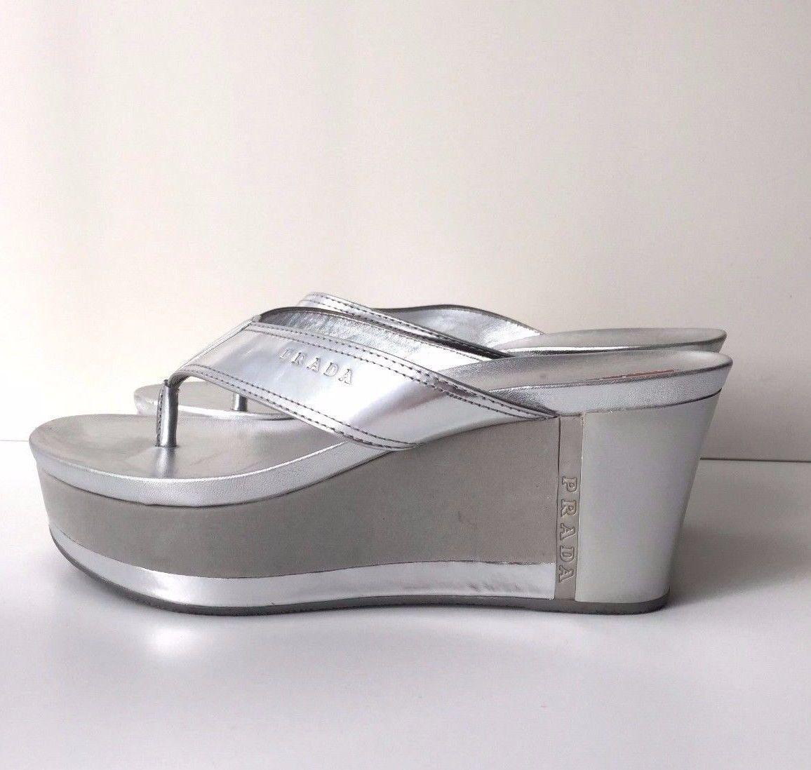 Prada Sport Silver Platform Sandals