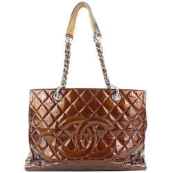 Chanel Quilted Bronze GST Patent Grand Shopping Tote Bag 196ccs29