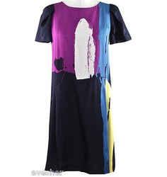 Chloe 2008 Runway Multi-color Dress Shift A-line Paint Brush Short Sleeve Sz 38