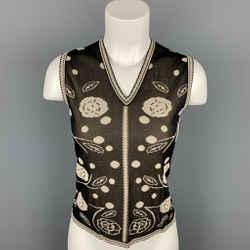 CHANEL Size 8 Black & Cream Knitted Floral Viscose V-Neck Vest