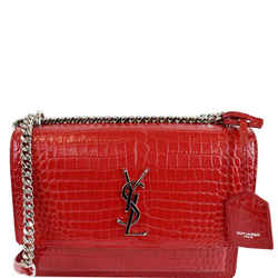 YVES SAINT LAURENT Sunset Medium Crocodile Leather Crossbody Bag Red