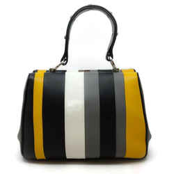 Prada Arcade Baiadera Grey / Yellow Leather Tote