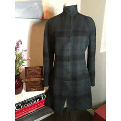 Jil Sander Green Black Gray Plaid Wool Felt Checked Jacket - 2292-40-81120