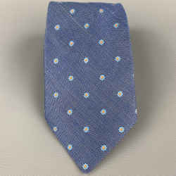 ERMENEGILDO ZEGNA Blue Floral Silk / Flax Tie