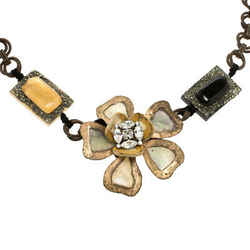 Marni Flower Crystal Resin Metal Embellished Statement Tie-up Necklace