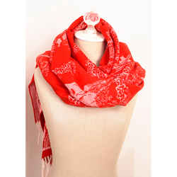 NEW $895 ALEXANDER MCQUEEN Red & Ivory DREAMING SKULL Print WOOL-BLEND Scarf