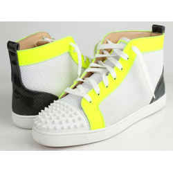Christian Louboutin Lou Spikes Orlato Mesh/Leather High-Top Sneakers